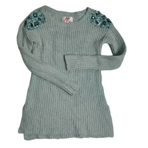 Justice Sequin Chenille Knit Sweater Mint Green 10